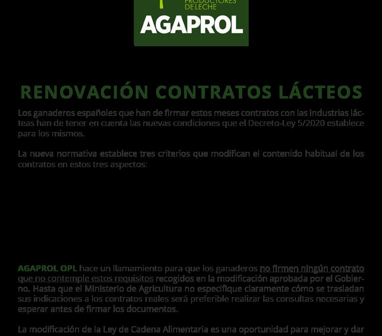 AVISO IMPORTANTE: Renovación de contratos lácteos