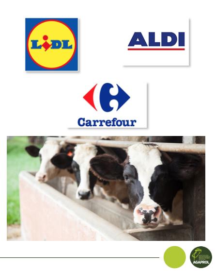 Agaprol propone a Aldi, Lidl y Carrefour acuerdos de compra de leche como los de Francia