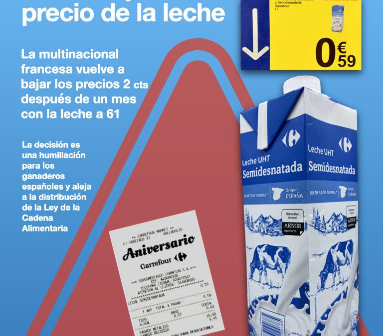 Carrefour humilla a los ganaderos españoles y vuelve a bajar el precio de la leche en sus lineales